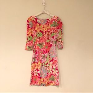 Lilly Pulitzer 3/4 Sleeve Rouched Floral Dress XS